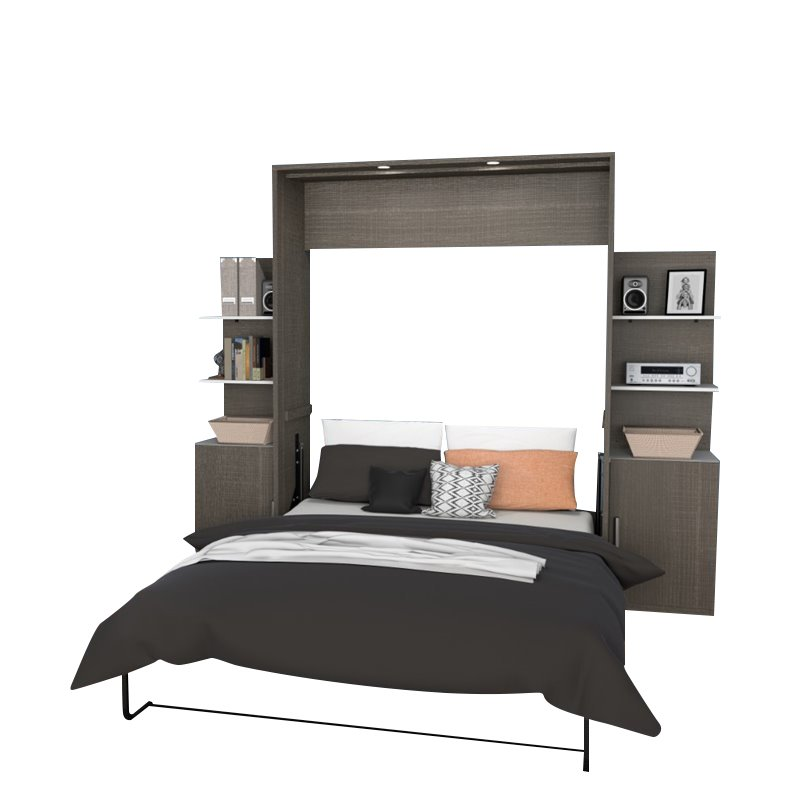 "Kingfisher Lane Deluxe 104"" Queen Wall Bed Kit in Bark Gray and White"