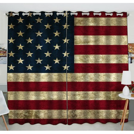 GCKG American Flag Window Curtain,American Flag Grommet Blackout Curtain Room Darkening Curtains For Bedroom And Kitchen Size 52(W) x 84(H) inches (Two Piece)