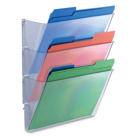 Universal 3 Pocket Wall File Starter Set, Letter, Clear - Wall Mount File Holders