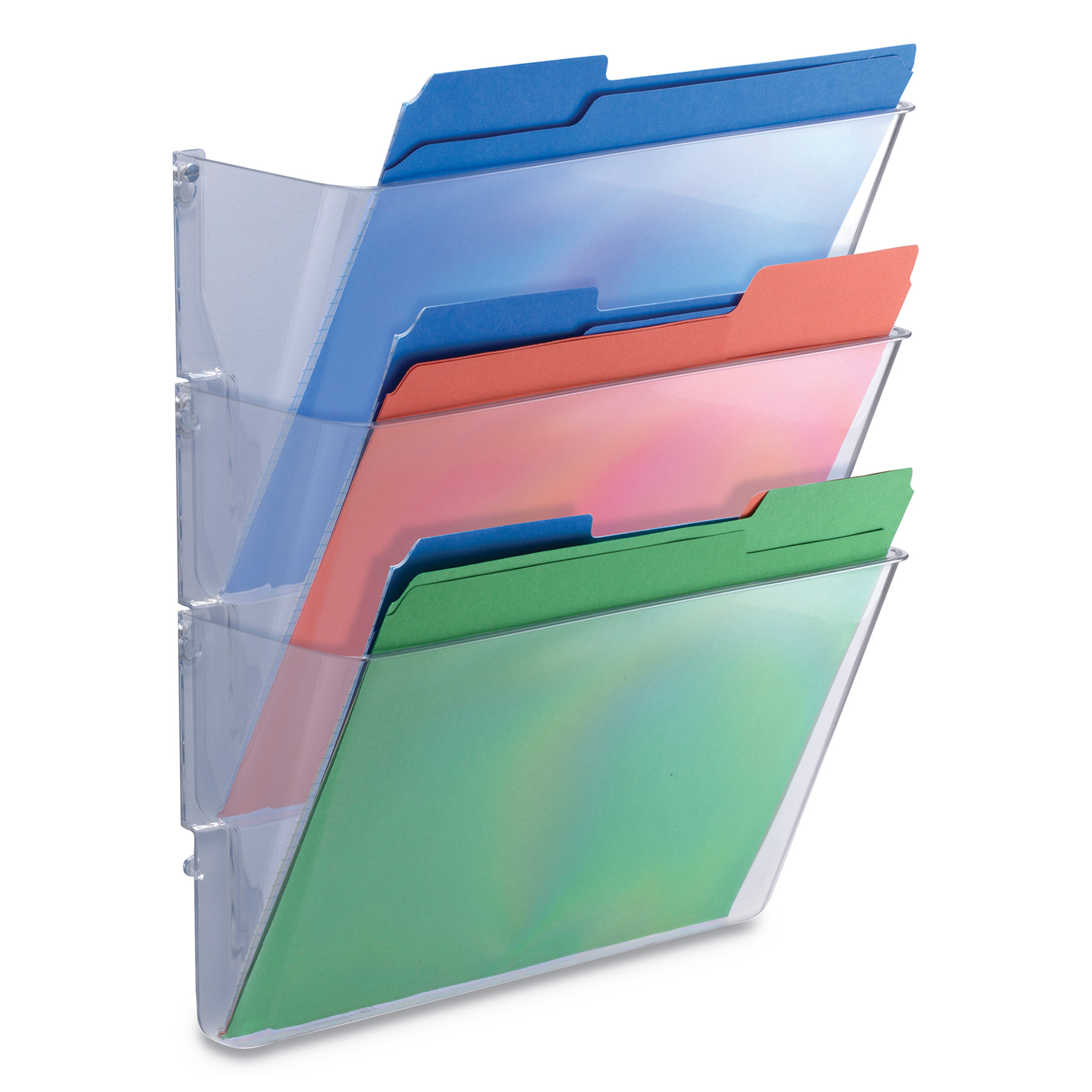 Universal 3 Pocket Wall File Starter Set, Letter, Clear -UNV53682