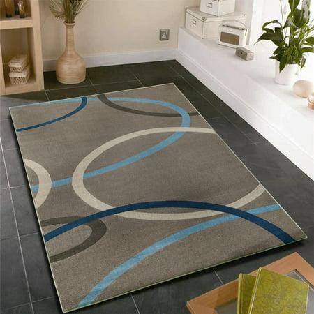 LR Home Adana Geometric Charcoal Circles Gray Indoor Area Rug (9'2