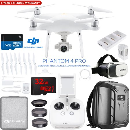 DJI Phantom 4 Pro V 2.0 Quadcopter Drone Camera with Battery, Charging Hub,Filter Kit , VR Goggles, Custom Backpack and 32GB Memory Card and One Year Extended Warranty (CP.PT.00000244.01)
