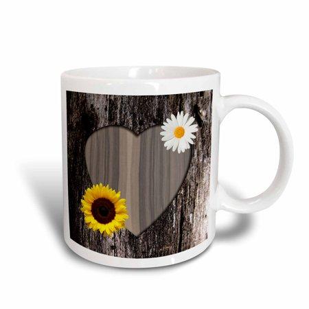 3dRose Wood Image Heart with Sunflower and Daisy, Ceramic Mug, - Sunflower Ceramic Plates