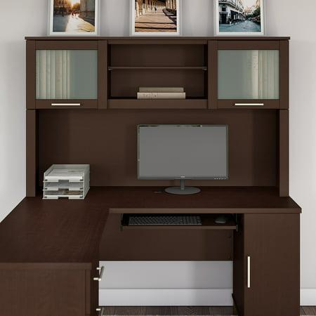 Bush Furniture Somerset 60W Hutch for L Shaped Desk in Mocha Cherry ()