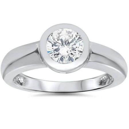 1edf78b48122a 1ct Bezel Set Solitaire Diamond Engagement Ring 14K White Gold Round ...