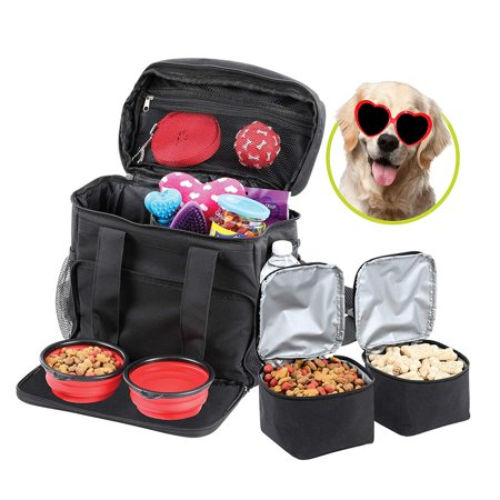Bundaloo Dog Bowls 5-Piece Set Travel Accessories | Pet Food Container and Supplies Organizer | 2 Lined Carriers, 2 Collapsible Bowl, 1 Carrying Bag | Best Camping Gear and Storage for Dogs Essentials Dog Pet Carrier Teacup