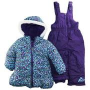 Pink Platinum Baby Girls 2-Piece Snowsuit Cheetah Print Jacket, Blue, 12 Months