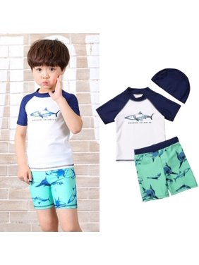 3pcs Baby Kids Boys Shark Swimwear Surfing Swimsuit Beachwear Rashguard