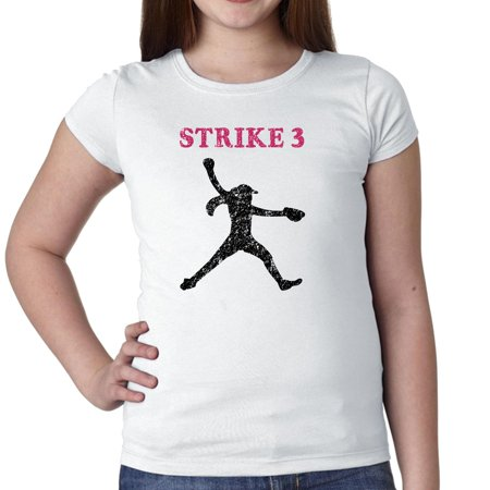 Strike 3 Softball Pitcher Silhouette Colorful Highlights Girl's Cotton Youth T-Shirt