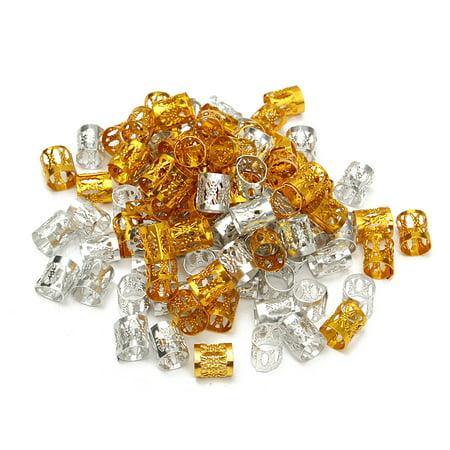 100x Gold/Silver Dreadlock Braiding Beads Hair Cuff Braid Clips 8mm