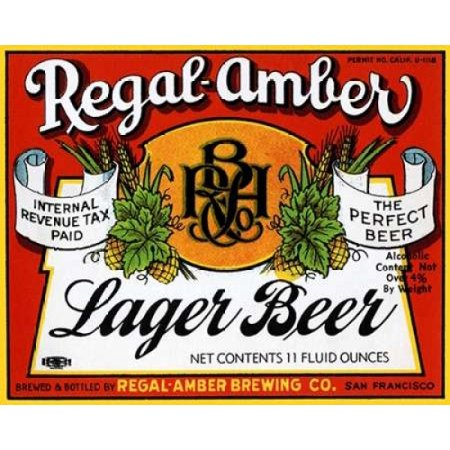 Regal-Amber Lager Beer Stretched Canvas - Vintage Booze Labels (8 x 10)
