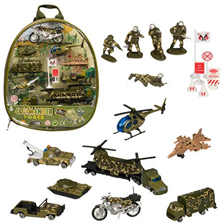Military Car Set - 20 Different Die-Cast Portable Military Related Vehicles - Play Set in a Backpack