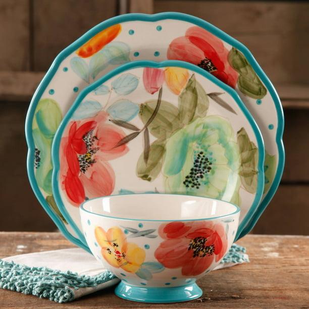The Pioneer Woman Vintage Bloom 12 Piece Dinnerware Set Turquoise Walmart Com Walmart Com