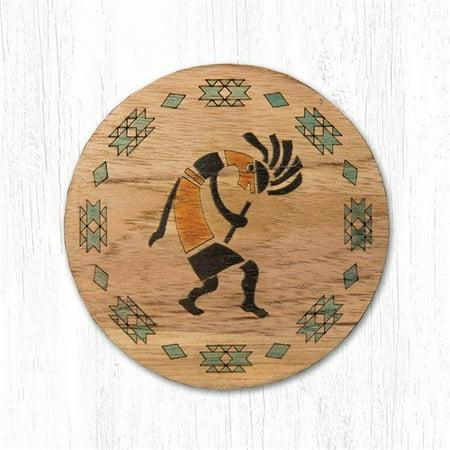 Capitol Importing 30-030K 3.5 x 3.5 in. Teak Wood Round Kokopelli Teak Wood Coaster