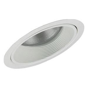 Lightolier 1154WH 6-3/4 Inch Down Light Complete Slope Ceiling Reflector Trim Round White Step Baffle Lytecaster