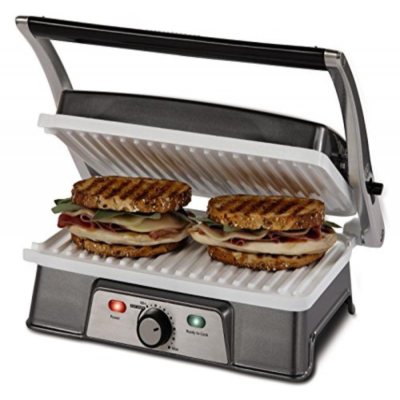 Oster CKSTPM21WC-ECO DuraCeramic 2-in-1 Panini Maker and Grill, White