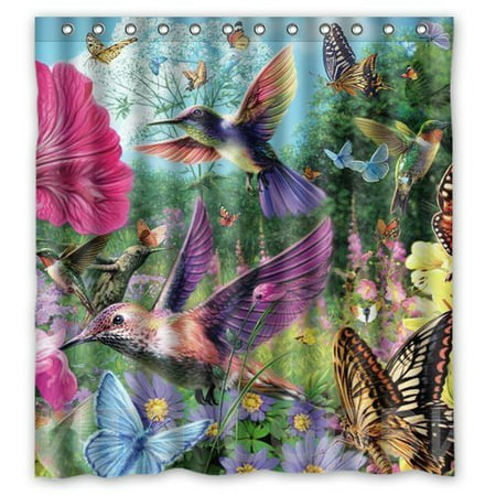 HelloDecor Hummingbirds and Butterflies Gathering Honey Pink Purple Shower Curtain Polyester Fabric Bathroom Decorative Curtain Size 66x72 Inches