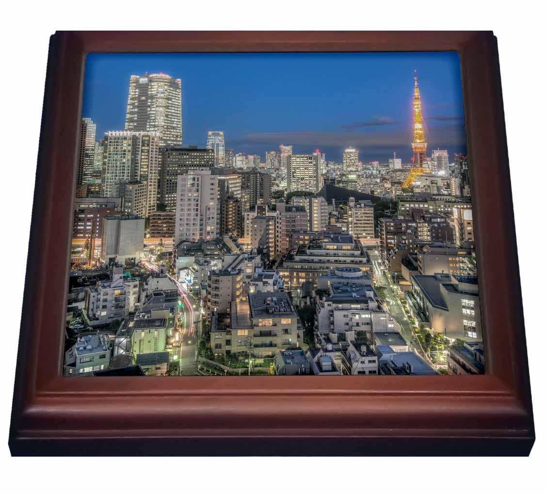 3dRose Japan, Tokyo, Roppongi, Skyline at twilight. , Trivet with Ceramic Tile, 8 by 8-inch by 3dRose