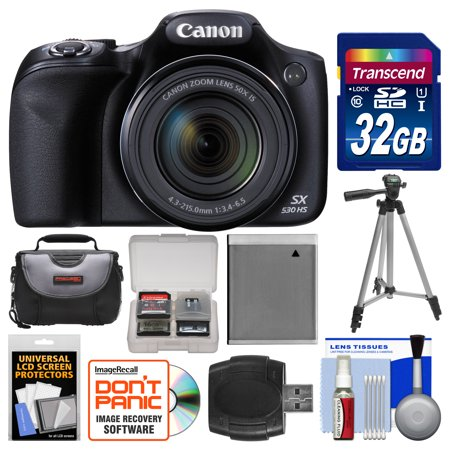 Canon PowerShot SX530 HS Wi-Fi Digital Camera with 32GB Card + Case + Battery + Tripod + Kit
