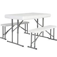 Best Choice Products Folding Table and Benches Portable Indoor Outdoor Picnic Party Dining Kitchen - White
