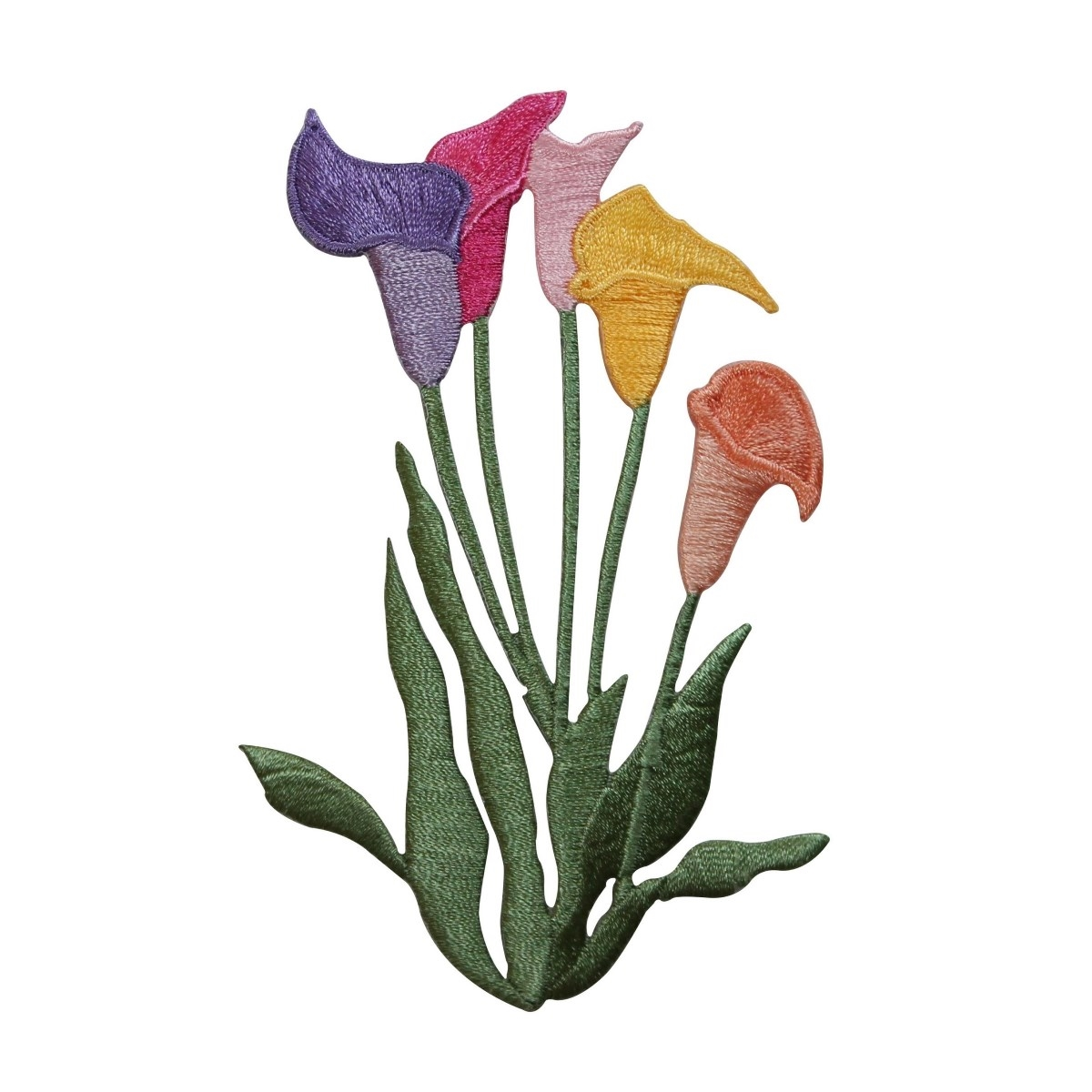 ID 6931 Multi Colored Tulip Flowers Patch Garden Embroidered Iron On Applique