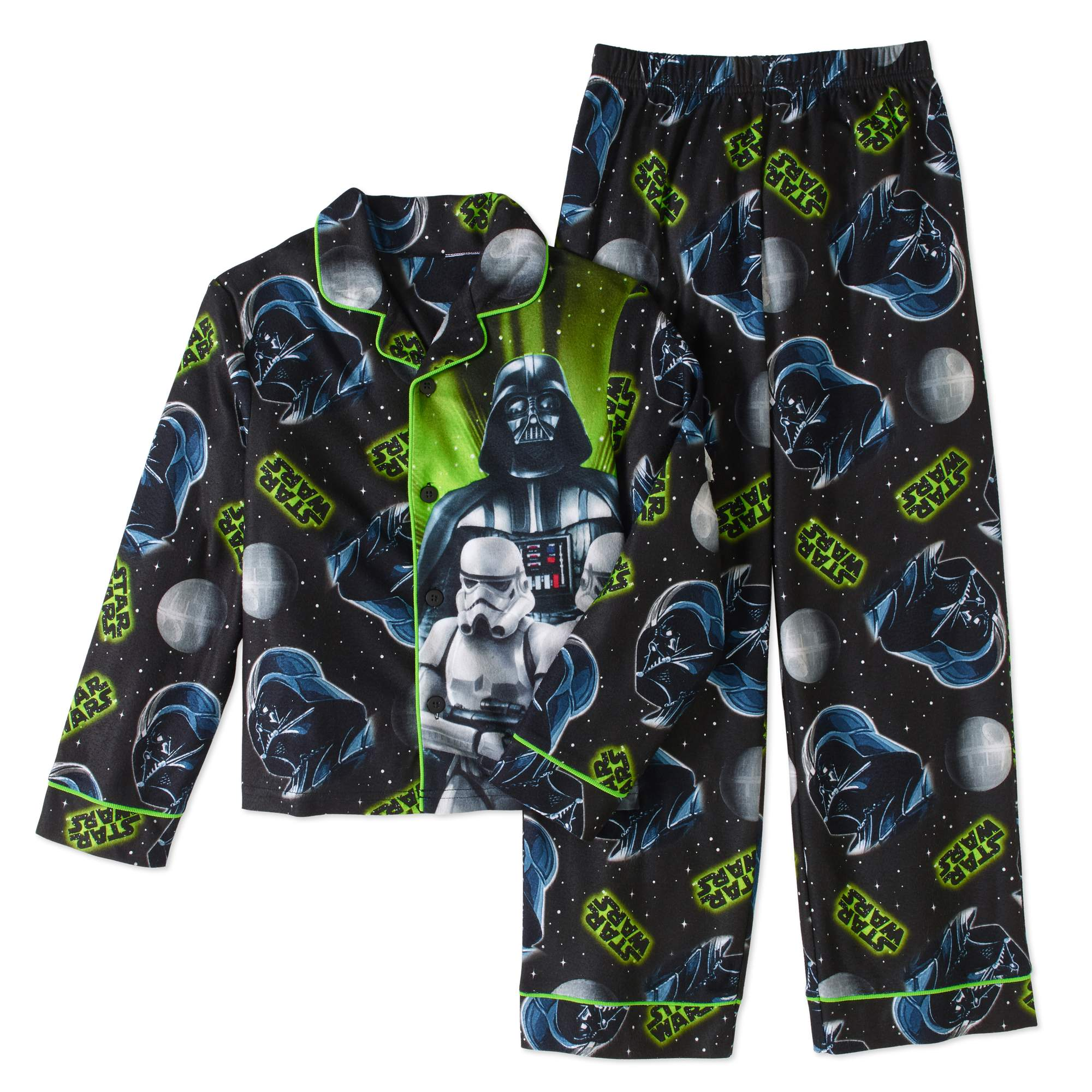 Star Wars Boys' 2-Piece Button Front Pajama Sleepwear Set
