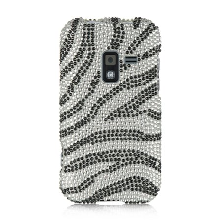 Insten Full Diamond Bling Hard Back Cover Case For Samsung Galaxy Attain 4G - Silver Zebra