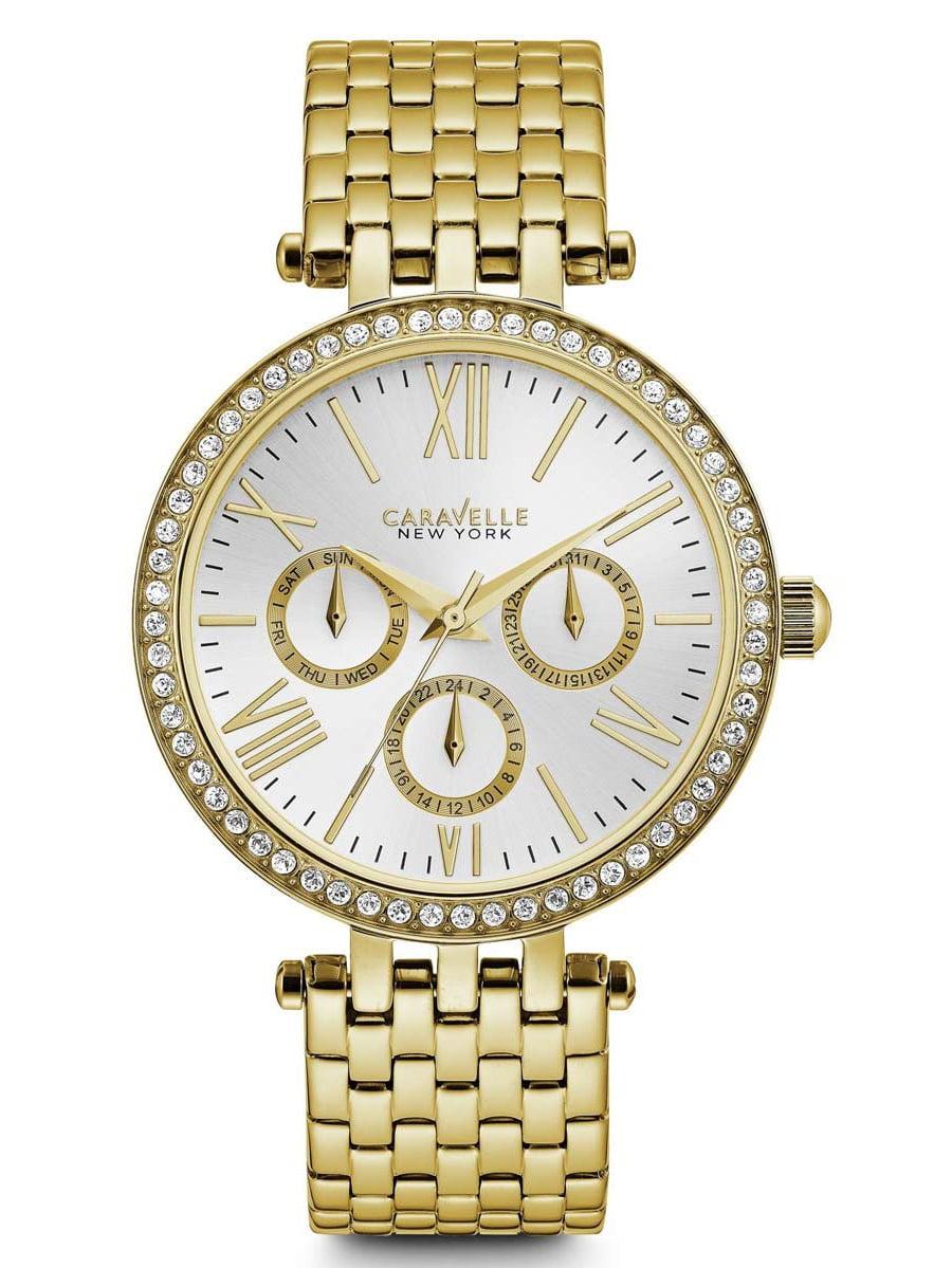 Caravelle 44N109 Women's Crystal Silver Dial Yellow Gold Steel Bracelet Watch