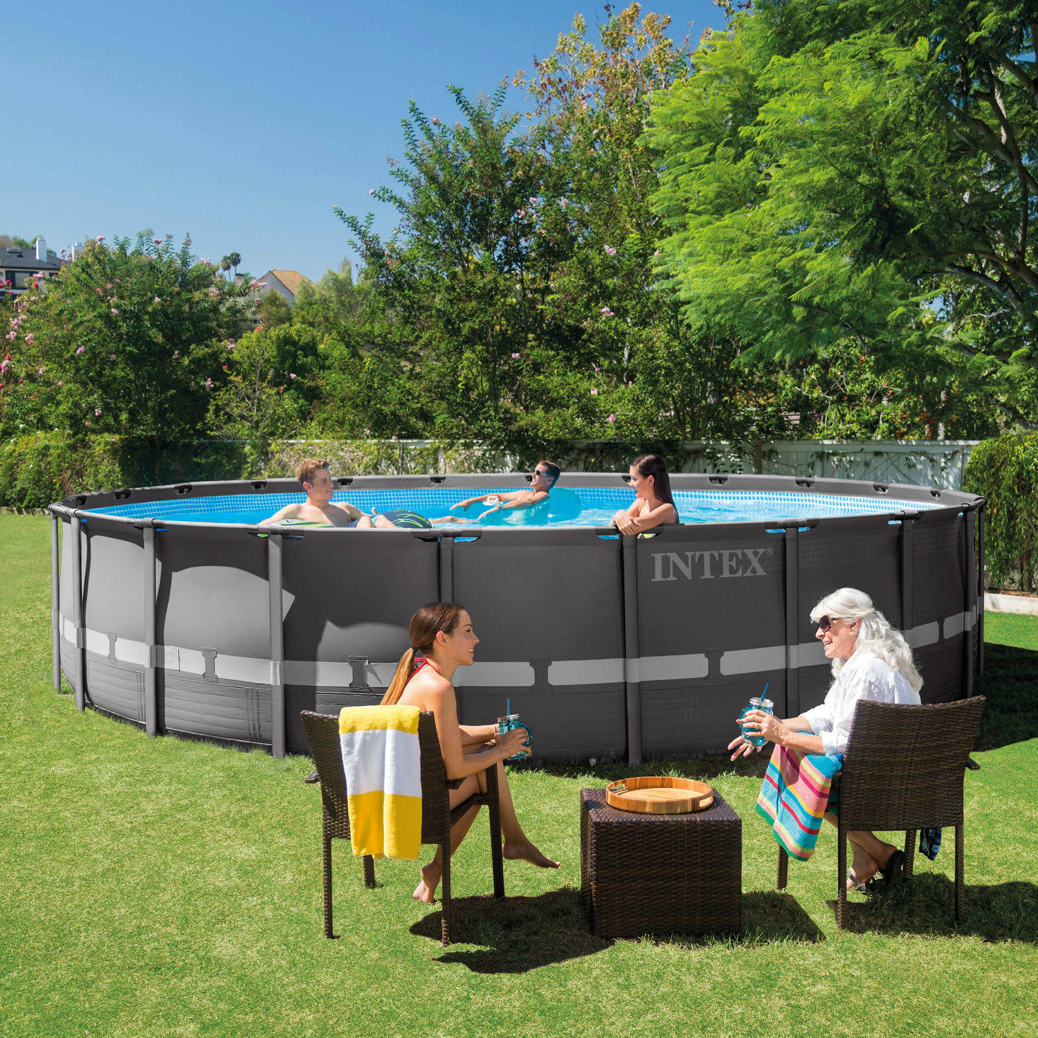 """Intex 22' x 52"""" Ultra Frame Above Ground Swimming Pool with Filter Pump, BOX 1 OF 2 by INTEX TRADING LTD"""