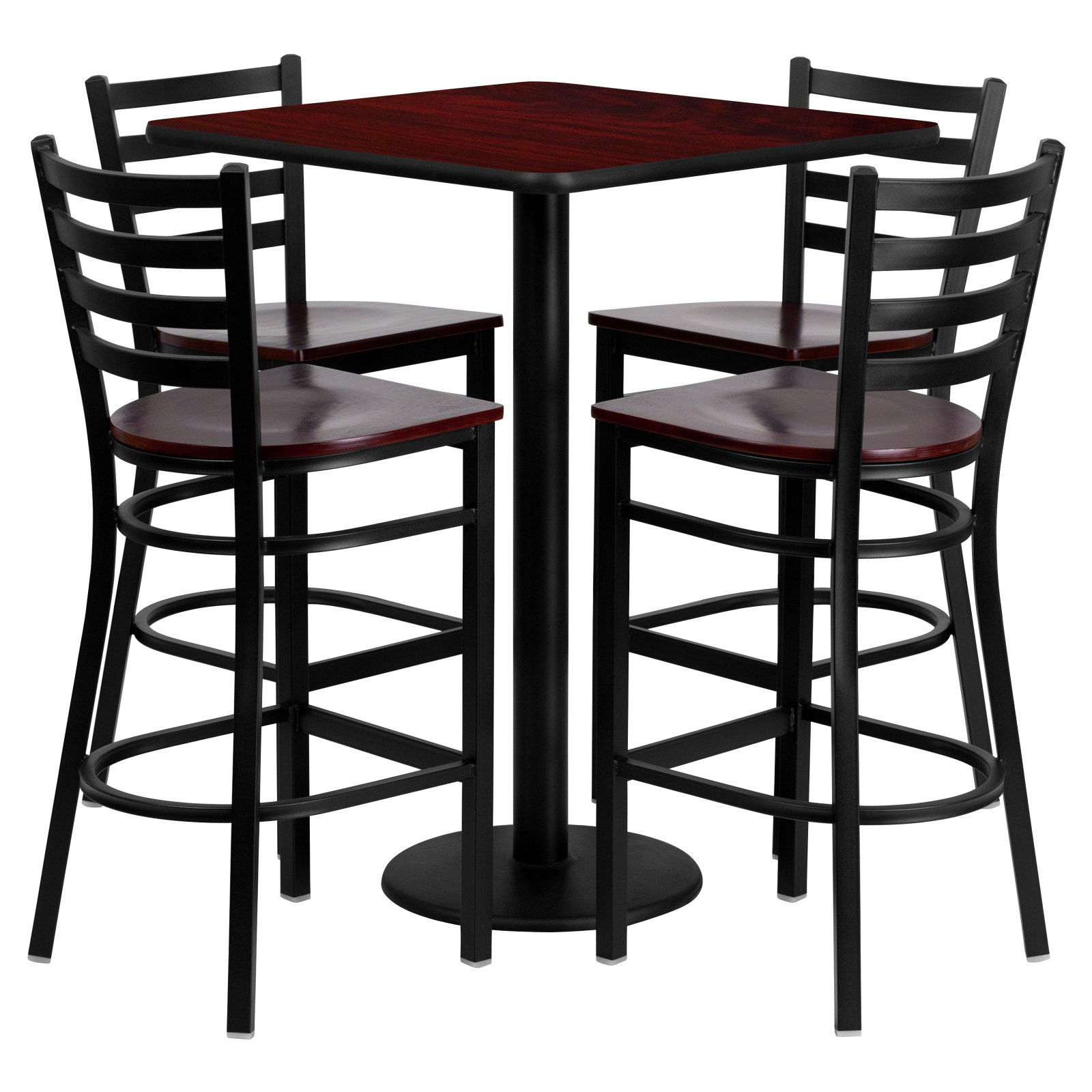 Flash Furniture 30'' Square Mahogany Laminate Table Set with 4 Ladder Back Metal Barstools, Mahogany Wood Seat