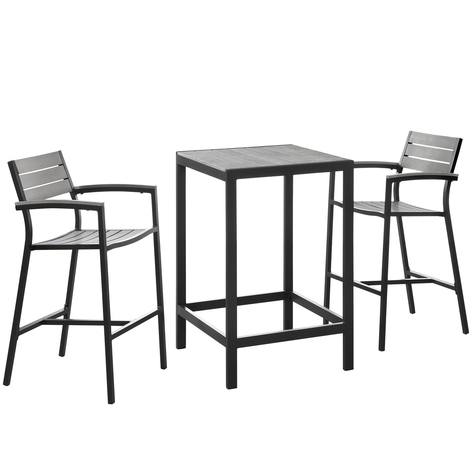 Modern Urban Contemporary 3 pcs Outdoor Patio Dining Room Set, Brown Grey Steel by