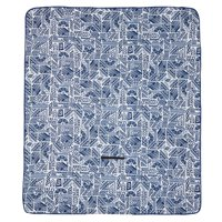 Ozark Trail Blue Patterned Outdoor Blanket with Fleece Top and Waterproof Bottom for Camping and Picnics