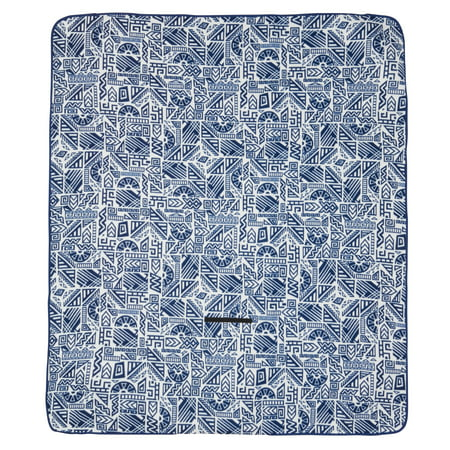 Ozark Trail Blue Patterned Outdoor Blanket with Fleece Top and Waterproof Bottom for Camping and