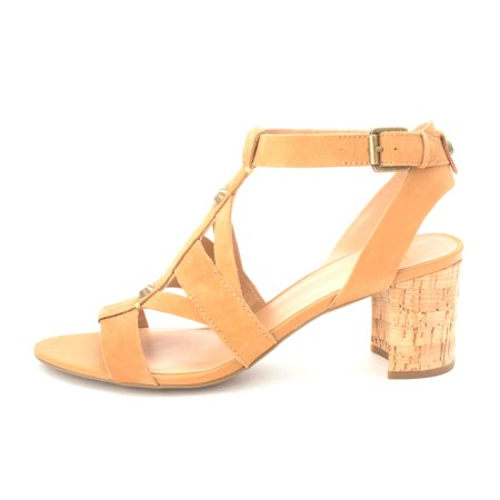 Franco Sarto Womens Paloma Leather Open Toe Casual, Biscuit Leather, Size