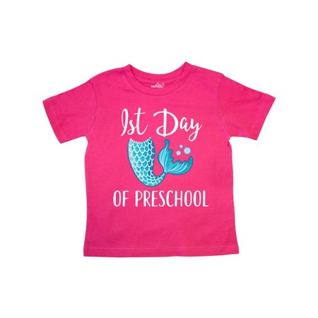1st Day of Preschool Girls Mermaid Tail Toddler T-Shirt - Girl First Day Of School