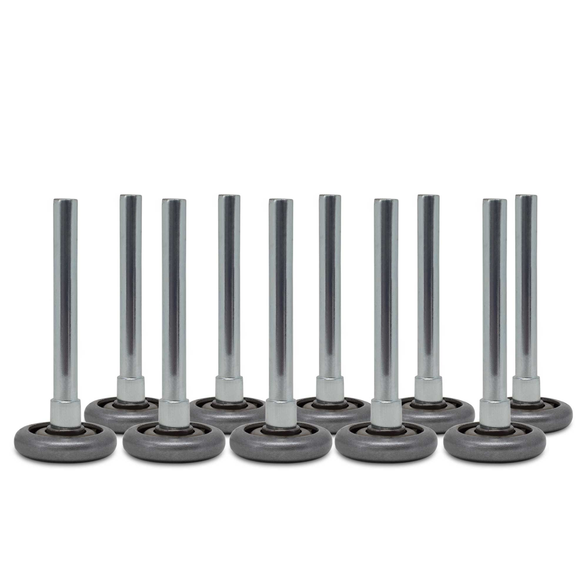 """Garage door rollers - 2"""" Steel Wheels with 10 ball-bearings & 4"""" stem (10-pack)"""