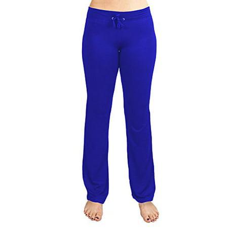 Soft & Comfy Yoga Pants, 95% Cotton/5% Spandex, Blue M Cotton Spandex Yoga Workout Pants