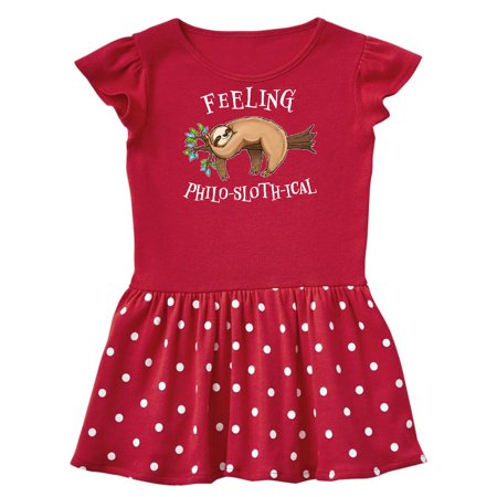 Feeling Philo-Sloth-ical- cute and funny sloth on a tree branch Infant Dress