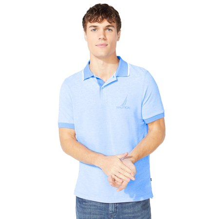 Nautica Men's Classic Fit Oxford Polo Shirt, Spinner Blue Loose Fit Oxford