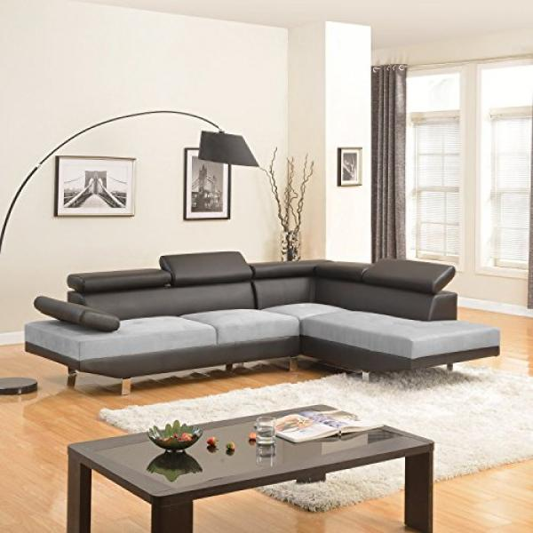 Modern Contemporary Designed Two Tone Microfiber and Bonded Leather Sectional Sofa (White/Grey) (Black / Grey)