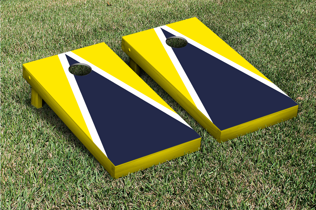 Painted Corn Hole Navy and Red Matching Triangle Cornhole Boards