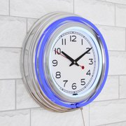 "14"" Retro Neon Wall Clock, Double Light Ring Vintage Style Clock by Lavish Home"