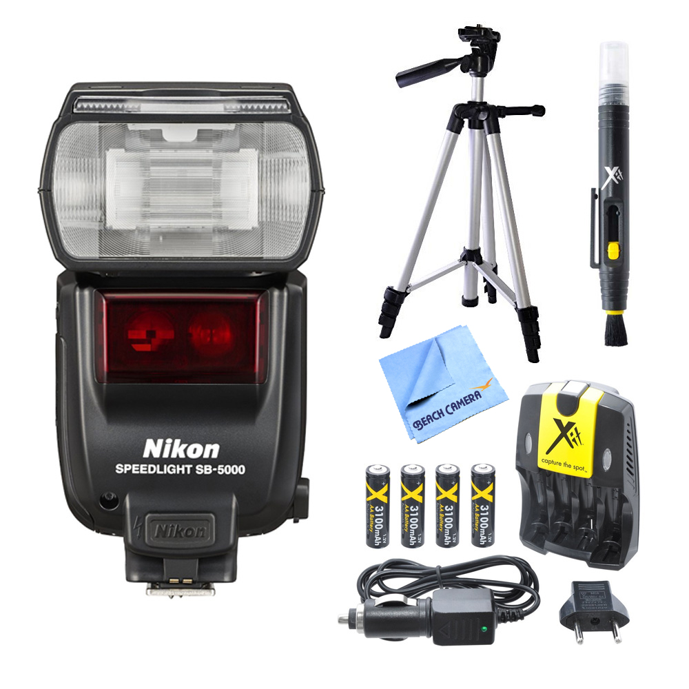 "Nikon SB-5000 AF Speedlight Flash and Tripod Bundle - Includes Flash, 57"" Full Size Tripod, AA Rapid Multivoltage AC/DC Charger (100-240v) with 4 2250mah AA Batteries, and LCD/Lens Cleaning Pen"
