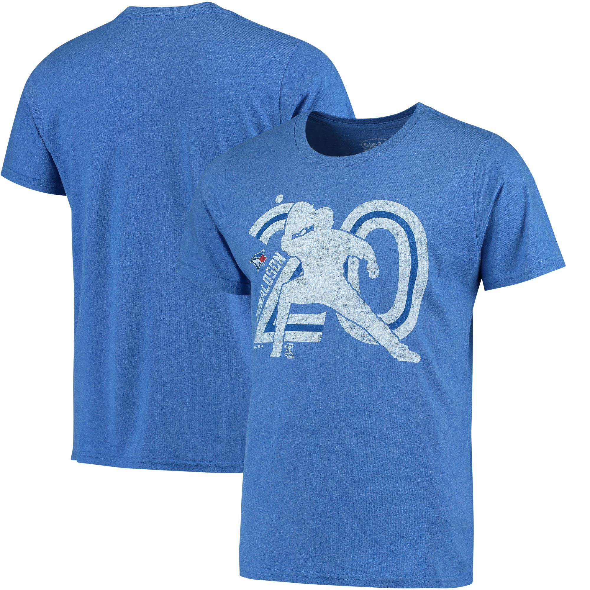 Josh Donaldson Toronto Blue Jays Majestic Threads Player Silhouette Tri-Blend T-Shirt - Royal