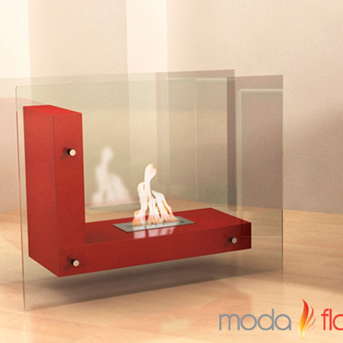 Moda Flame Arta Contemporary L Shaped Ethanol Indoor Outdoor Fireplace by Moda Flame