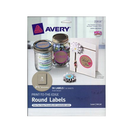 Kraft Paper Labels - Avery(R) Print-to-the-Edge Round Labels 22818, Kraft Brown, 2-1/2