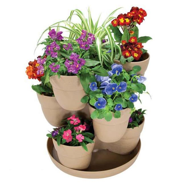 EmscoGroup 2380-1 Bloomers Flower Tower 3-Tier Set - Sand