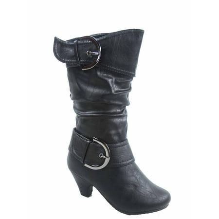 Auto 9k Youth Girl's Kid's Zipper Low Heel Round Toe Buckle Dress Boot - High Heel Shoes For Kids Girls