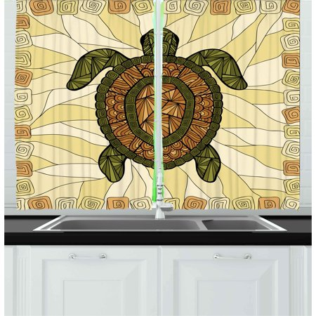 Turtle Curtains 2 Panels Set, Stylized Turtle Zentangle on Yellow Background Spiral Forms Bohemian Artwork, Window Drapes for Living Room Bedroom, 55W X 39L Inches, Yellow Green Brown, by Ambesonne ()