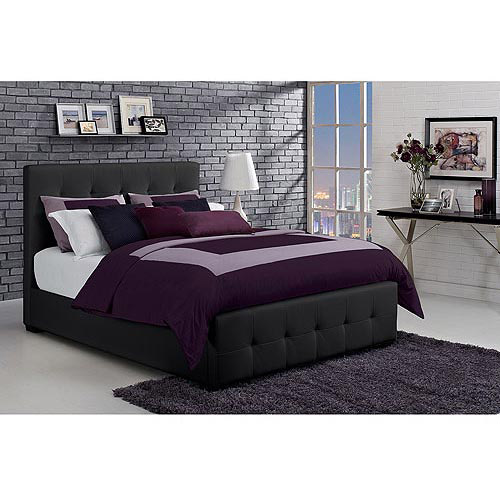 Florence Queen Tufted Faux Leather Upholstered Bed with Headboard, Black